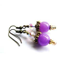 SALE, Purple Jade Earrings, Stone Earrings, Pink Crystal Earrings,... (1.185 RUB) ❤ liked on Polyvore featuring jewelry, earrings, purple jade earrings, crystal jewelry, stone earrings, vintage style earrings and jade jewelry