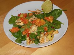 Tropical Pineapple Coconut Chicken Salad with Pineapple Pepper Salsa!