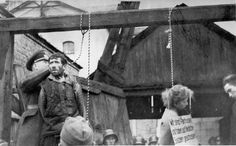 Minsk, Belorussia, Suspect partisan being hanged by German soldiers, 26/10/1941. - Yad Vashem Photo Archive