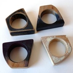 Wooden Rings by Bridget Harvey Wooden Jewelry, Jewelry Art, Handmade Jewelry, Jewelry Design, Beautiful Wedding Rings, Resin Ring, Wood Rings, Contemporary Jewellery, Engagement Rings
