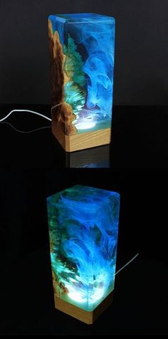A beautiful unique piece of decor featuring a mesmerizing underwater scene inside. Source by Clear Epoxy Resin, Wood Resin, Resin Art, Resin And Wood Diy, Diy Epoxy, Handmade Home Decor, Unique Home Decor, Diy Home Decor, Unique Night Lights