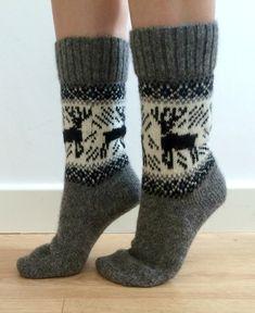 Grey wool socks featuring black reindeer/elk/buck and a border pattern with a dash of blue. Wool Socks, Knitting Socks, Buck Deer, Reno, Types Of Shoes, White Christmas, Grey And White, Reindeer, Calves