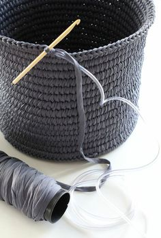 Crocheted basket - over plastic tubing