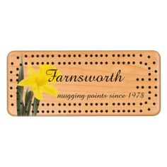 """Single Yellow Narcissus Daffodil Cherry Cribbage Board - $67.95 - Single Yellow Narcissus Daffodil Cherry Cribbage Board - by #RGebbiePhoto @ zazzle - #daffodil #flower #yellow - Personalize with Your Name and tag line! Ours says """"mugging points since 1978"""", easy to customize! A vibrant yellow narcissus daffodil over white. Personalize this line with customizable text! Add Your Name to customize! Symbolizing rebirth and new beginnings, the daffodil is virtually synonymous with…"""