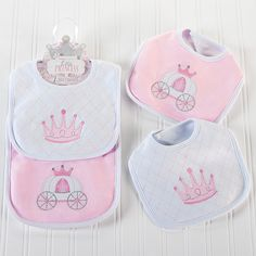 Even a Little Princess gets messy! These adorable embellished princess bibs will keep your baby girl clean and cute during mealtime