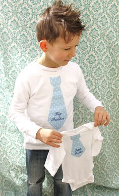 Personalized Baby Boy Tie Onesie and Toddler or Youth Tie T-shirt!    Big Brother and Little Brother set!