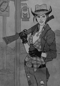 """anonymous said: saw your beautiful courier six art and now i'm super curious if you've ever drawn cass from new vegas? your art is amazing, btw! thank you for asking - Cass is my hands. Fallout New Vegas, Fallout Game, Fallout Funny, Character Art, Character Design, Character Ideas, Fallout Concept Art, Post Apocalypse, Le Far West"