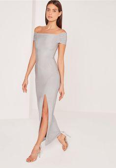 Slinky Bardot Maxi Dress Grey - Missguided