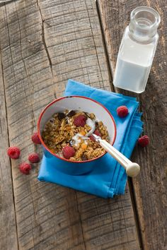 I'd use Olive oil in place of butter, but this is great - http://www.relish.com/recipes/camp-beckwith-granola/