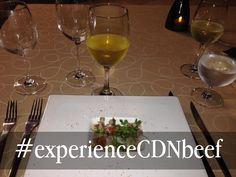 First Course: Canadian Beef Teres Major, Sweet Onion, Basil & Matanzas Creek Sauvignon Blanc Prepared by Chef Jonathan Gushue at Karisma Hotels February 2015 Salmon Roe, Sauvignon Blanc, February 2015, Basil, Onion, Hotels, Beef, Meat, Onions