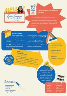 Creative illustrated resume / CV of Kyrle Simpson. Graphic Design Resume, Graphic Design Trends, Graphic Design Posters, Graphic Design Inspiration, Typography Design, Web Design, Layout Design, Design Art, Logo Design