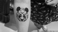 Geometric Panda tattoo by James Nidecker info@jamesnidecker.com  #tattoo #geometric #panda #tattooartist #amsterdam #dotwork #art #LineWork #girl