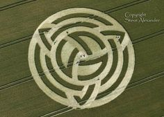 "The Triquetra, A ""Trinity knot,"" crop circle at Milk Hill, near Alton Barnes, Wiltshire UK"