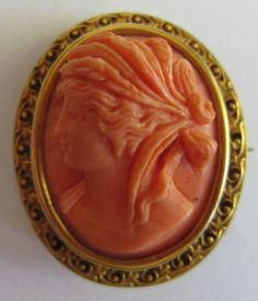 VICTORIAN GENUINE CARVED CORAL HIGH RELIEF CAMEO PENDANT BROOCH