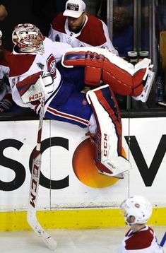 Montreal Canadiens goaltender Carey Price climbs back onto the ice after Boston Bruins center David Krejci scored an open net goal late in the third period of an NHL hockey game in Boston, Wednesday, Jan. 17, 2018. The Bruins defeated the Canadiens 4-1. (AP Photo/Charles Krupa)