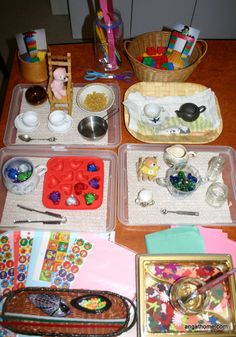 Table Activities - 3 year old. Cutting, Gluing, Pasting and Stickers, Threading, Water Transfer,