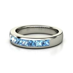 14K White Gold Ring with Diamond & Blue Topaz - Volga Band (3mm gems) | Gemvara