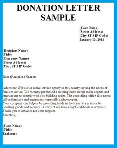 sample donation request letter and donation card non profit