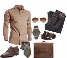 Camisa coñor cafe , pantalón de mezclilla y accesorios