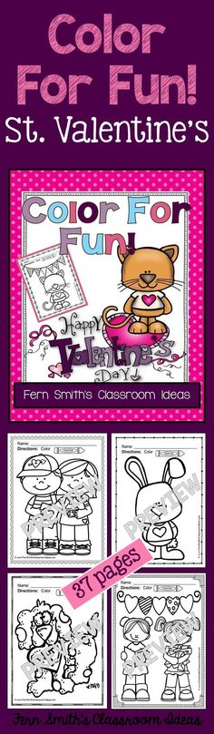 50% Off for the First Two Days! St. Valentine's Day Fun! Color For Fun Printable Coloring Pages {37 coloring pages equals less than 10 cents a page.} #Free St. Valentine's Day Coloring Page in the FREE Preview Download! #TPT $paid