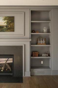 modern traditional fireplace | shelving | Fairfield Beach House | Thiel Architecture + Design