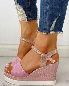 Perlen Sandalen Damenschuhe Open Toe Pump Transparent Pantoletten Slippers Wedge