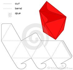 Template Present  box red hedra cut triangle