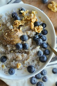 Superfood Blueberry Buckwheat Porridge with coconut milk, almond butter, and raw walnuts -- looks wonderful! Try sweetening with stevia or xylitol.