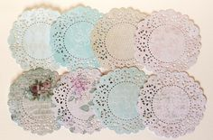 C'Est La Vie patterned paper die cut doilies by vixyvixy on Etsy, $4.00