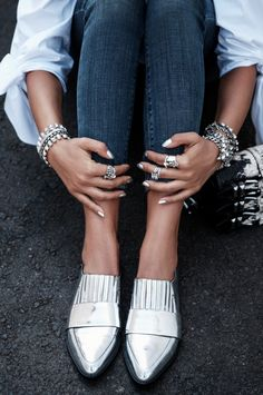 This look gets a gold medal for accessorizing with silver Loeffler Randall Rosa Loafers.