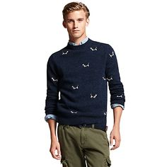 Dogs on Tommy Hilfiger men's Crew Neck Sweater!