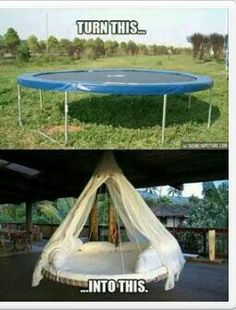 #Recycle trampoline. A more challenging #DIY project but a super cool way to #re-use a trampoline.