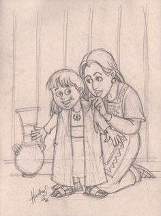 Samuel e Ana - E sua mãe lhe fazia uma túnica pequena, e de ano em ano lha trazia, quando com seu marido subia para oferecer o sacrifício anual. 1 Samuel 2:19