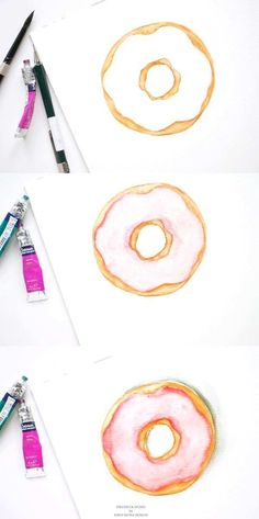 Learn the art of creating a DIY watercolor doughnut illustration in this tutorial - Inkstruck Studio Watercolor Food, Watercolor Cards, Abstract Watercolor, Simple Watercolor, Tattoo Watercolor, Watercolor Ideas, Watercolor Animals, Watercolor Background, Watercolor Landscape