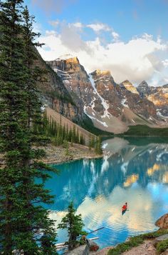 Kayaking at Moraine Lake, Alberta, Canada by Randy Quayle