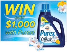 Enter to WIN $1,000 and a FREE year of Purex plus Fabric Softener or 1 of 500 coupons for a full-size bottle!