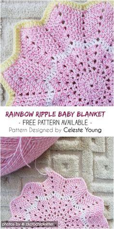 New Baby Blanket Rainbow Crochet Ripple Ideas Crochet Star Blanket, Star Baby Blanket, Baby Girl Crochet Blanket, Crochet For Beginners Blanket, Crochet Stars, Afghan Crochet Patterns, Baby Patterns, Crochet Baby, Irish Crochet