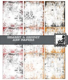 Shabby Grungy Red Orange and Rust Printable Art Papers for your visual journal by JustBYourself