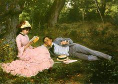Idylli (Antonia Bonjean ja Gunnar Berndtson Meudonissa) - Gunnar Fredrik Berndtson (Finnish, 1854–1895)