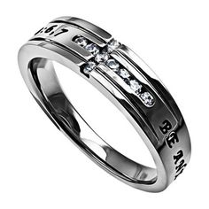 ANXIOUS FOR NOTHING Promise Ring, Bible Verse with CZ Cross, Stainless Steel