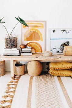 home interior design trends 2020 Interior Design Trends, Home Decor Trends, Decor Ideas, Boho Living Room, Living Room Decor, Yellow Kitchen Designs, Yellow Interior, Apartment Furniture, Apartment Door