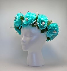 Turquoise Silk Floral Bridal Crown Wedding by CeremonyDeluxe, https://www.etsy.com/shop/CeremonyDeluxe