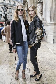 Natalia Vodianova in Stella McCartney jacket and Vuitton shoes and Elena…