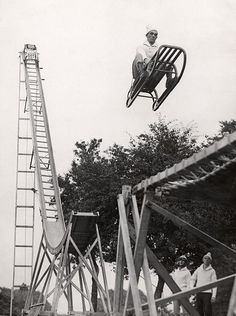 Sleigh leaving ski-jump. Alexandra Palace, London, 1933.