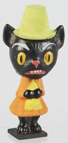 Composition Halloween Cat Nodder.