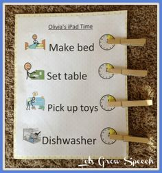 """A great way to teach preschoolers to limit or earn """"Technology Time"""" ,"""