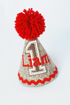 Custom Sock Monkey Party Hat Red and Brown by appleKembroidery, $28.00