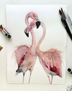 Watercolor paintings look very awesome and many people try it using various subjects. As a beginner, you must try cute animal watercolor paintings. Watercolor Paintings Of Animals, Watercolor Bird, Animal Paintings, Paintings Of Birds, Painting Art, Flamingo Painting, Flamingo Art, Flamingo Illustration, Art Et Illustration