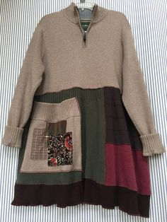 Upcycled Plus size Patchwork Sweater Tunic Thick Oversized