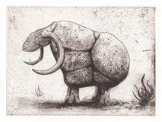Etching print Rock Monster mythical beast  by linocutboy on Etsy, £50.00